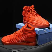 Кроссовки Adidas Tubular мужские, красные, в стиле Адидас Тубулар, замша, резина, код DK-1162