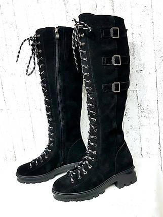 Чёрные женские сапоги на шнуровке с пряжками 36-41 р, фото 2