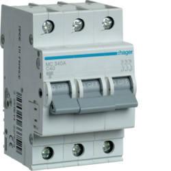 Автоматический выключатель 40 А, 3п, С, 6 kA, hager, Франция, фото 2
