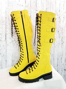 Высокие женские желтые сапоги на шнуровке 36-41 р