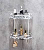 Полка алюминиевая в ванную угловая навесная на две полки
