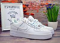✅ Женские белые кожаные кроссовки Nike air force 1 low, найк еир форс подростковые 39