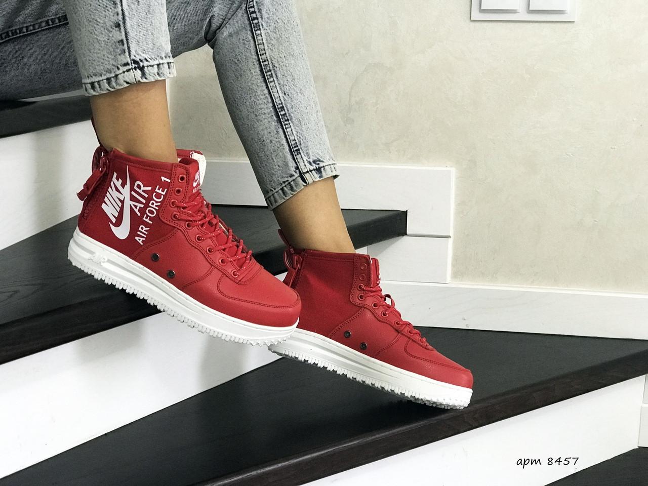 Высокие женские кроссовки Nike Air Force 1,красные