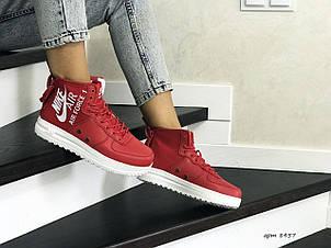 Высокие женские кроссовки Nike Air Force 1,красные, фото 2