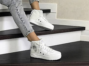 Високі жіночі кросівки Nike Air Force 1,білі, фото 2