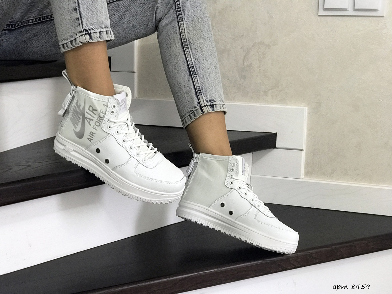Высокие женские кроссовки Nike Air Force 1,белые