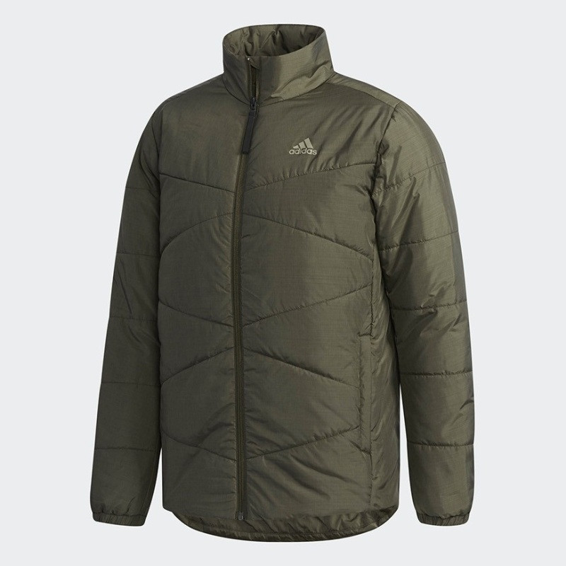 Куртка спортивная adidas Bsc Ins Jacket CZ0618 (хаки, мужская, осень-зима, стеганая, синтепон, логотип адидас)