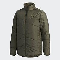 Куртка спортивная adidas Bsc Ins Jacket CZ0618 (хаки, мужская, осень-зима, стеганая, синтепон, логотип адидас), фото 1