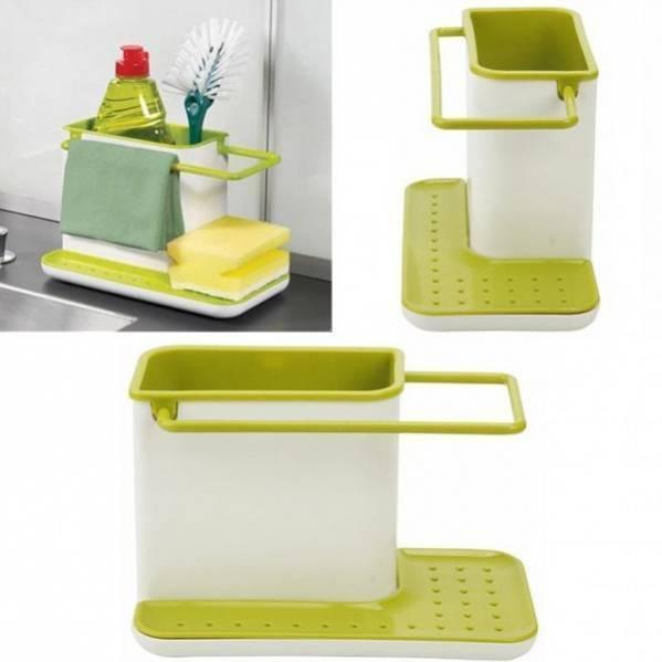Універсальний органайзер для кухні SUNROZ Daily Use на раковину 3 в 1 Біло-Зелений