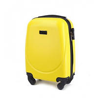 Дорожный чемодан пластиковый Wings 310 маленький ручная кладь на 4 колесах желтый
