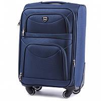 Дорожный чемодан тканевый Wings 6802 ручная кладь на 4 колесах синий