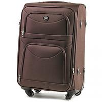 Дорожный чемодан тканевый Wings 6802 ручная кладь на 4 колесах коричневый