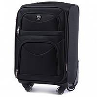 Дорожный чемодан тканевый Wings 6802 средний на 4 колесах черный