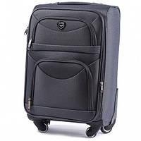 Дорожный чемодан тканевый Wings 6802 средний на 4 колесах серый
