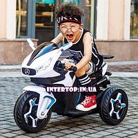 Детский трехколесный электро мотоцикл на аккумуляторе M 3965L-1 белый. Трицикл