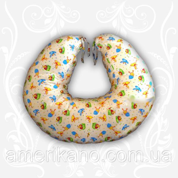Подушка для кормления ребенка: диаметр-155 см,высота-16 см. Цвет бежевый, голубой, розовый, голубой.