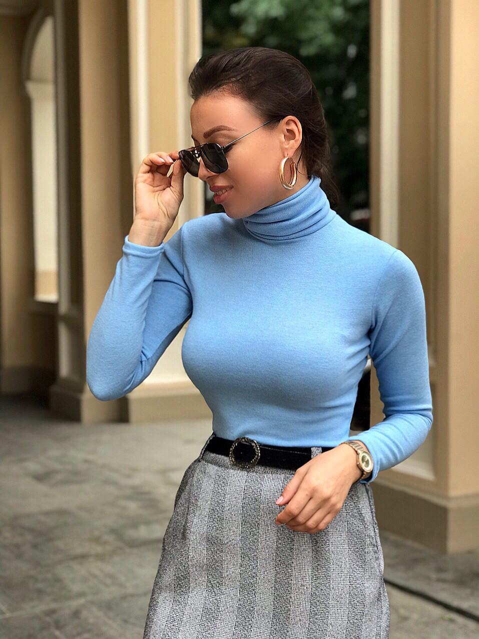 Женский теплый гольф голубой S