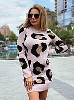 Вязанное платье с имитацией пятен леопарда