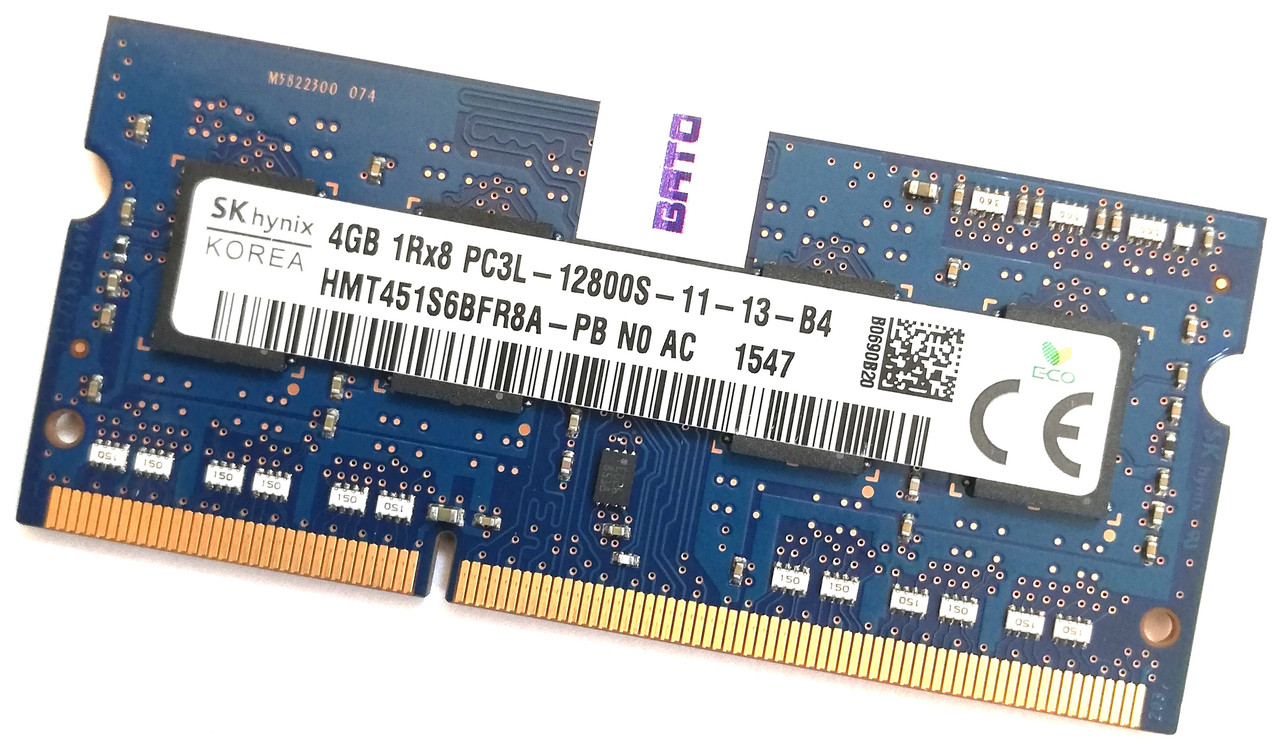 Оперативная память для ноутбука Hynix SODIMM DDR3L 4Gb 1600MHz 12800s CL11 (HMT451S6BFR8A-PB N0 AC) Б/У
