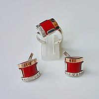 Серебряный набор ювелирных изделий серьги и кольцо с кораллом и фианитами
