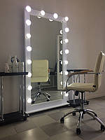 Гримерное зеркало 1850/850 мм, зеркало визажиста,зеркало с лампочками.