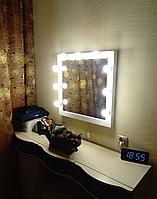 Гримерное зеркало 600/600 мм, зеркало визажиста,зеркало с лампочками.