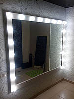 Гримерное зеркало 2200/1600 мм, зеркало визажиста,зеркало с лампочками.