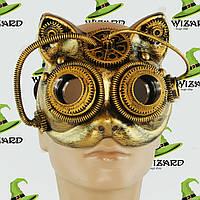 Маска винтажная стимпанк Кошка (золото)