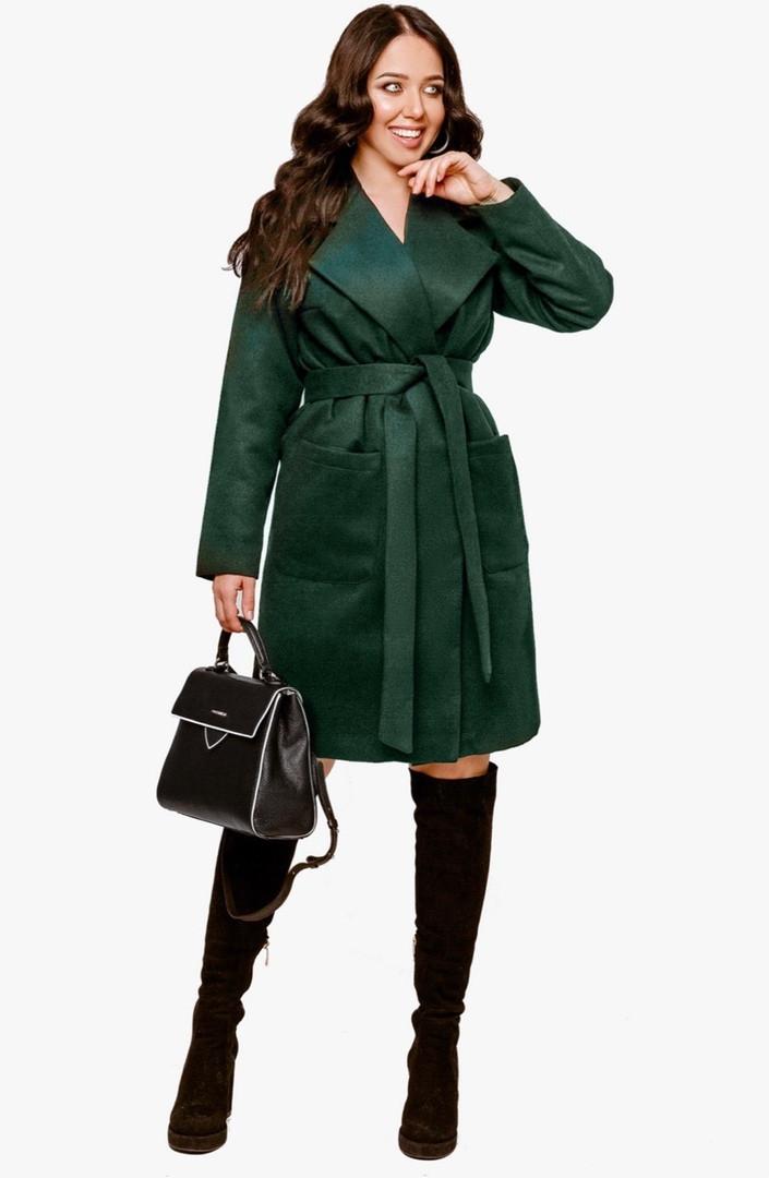 Женское пальто батал Бутылочный