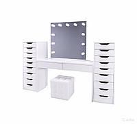 Стол для визажиста  черный (1200/1600 мм ), рабочее место визажиста,столик для макияжа.