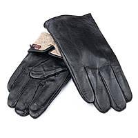 Мужские кожаные перчатки, черные. Подкладка шерсть. MOD 5