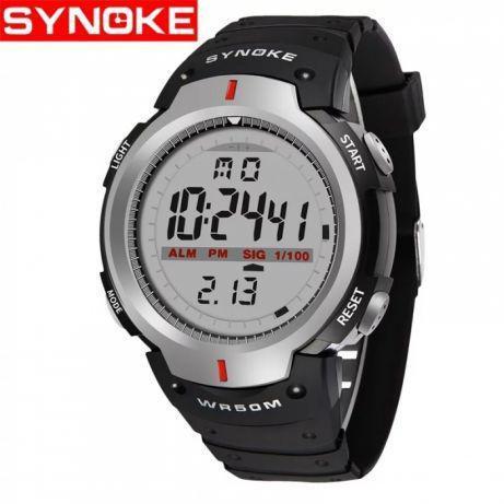 Synoke 61576 водонепроницаемые эл. часы с большим циферблатом. Серые