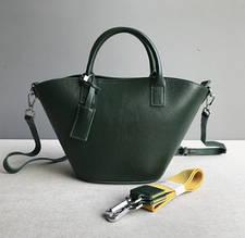 Сумка в форме конус с двумя ремешками / натуральная кожа арт. кт-874 Зеленый