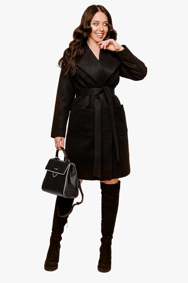 Женское пальто батал Черный