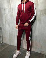 Спортивный костюм мужской зимний теплый бордовый качественный с лампасами
