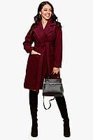 Женское пальто батал Бордовый