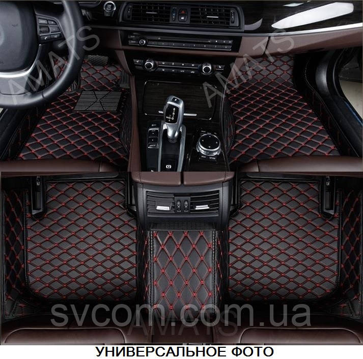Коврики BMW Х5 из Экокожи 3D (F15 2014-2018) Чёрные с Красной нитью