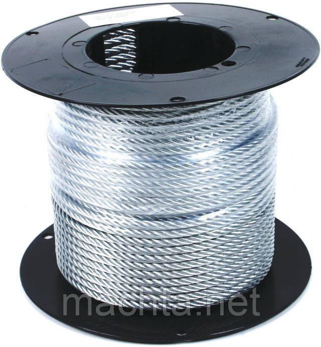 Трос стальной в оплетке ПВХ DIN 3055 (6х7) 4мм