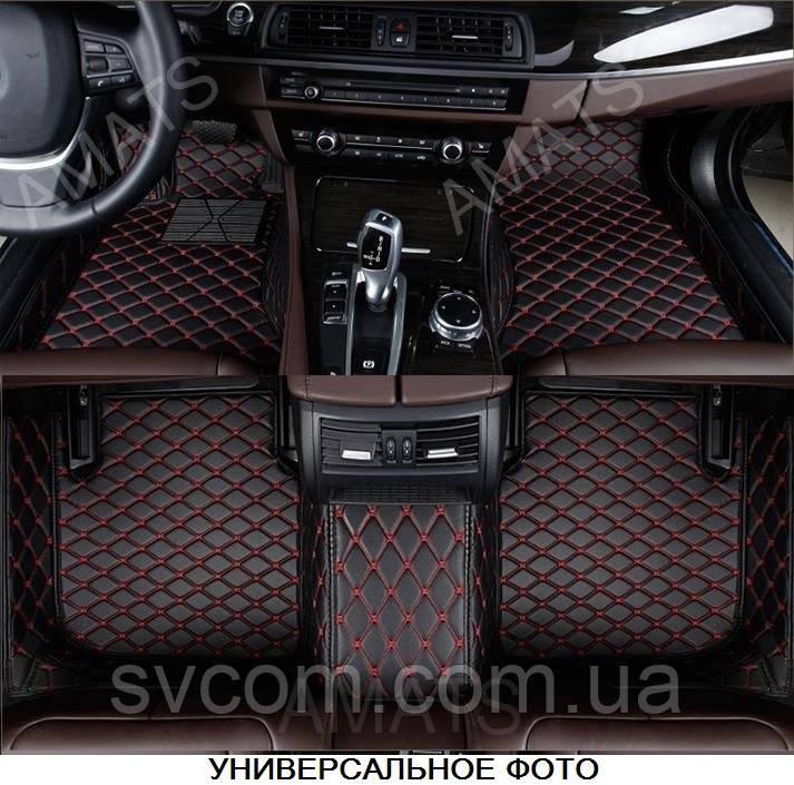 Коврики BMW 7  из Экокожи 3D (F01/02 2008-2015 ) Чёрные с Красной нитью