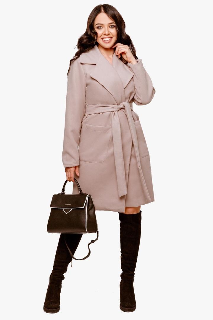 Женское пальто батал Бежевый