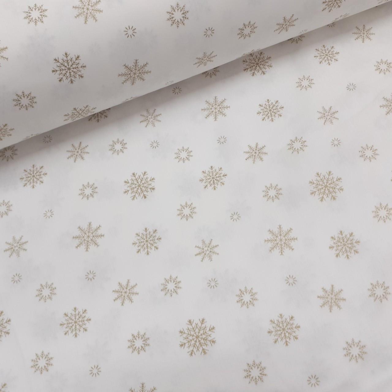 Хлопковая ткань (ТУРЦИЯ шир. 2,4 м) золотые снежинки на белом (глиттер)
