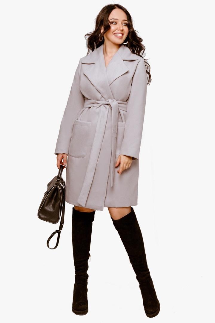 Женское пальто батал Серый