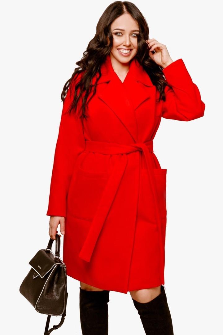 Женское пальто батал Красный