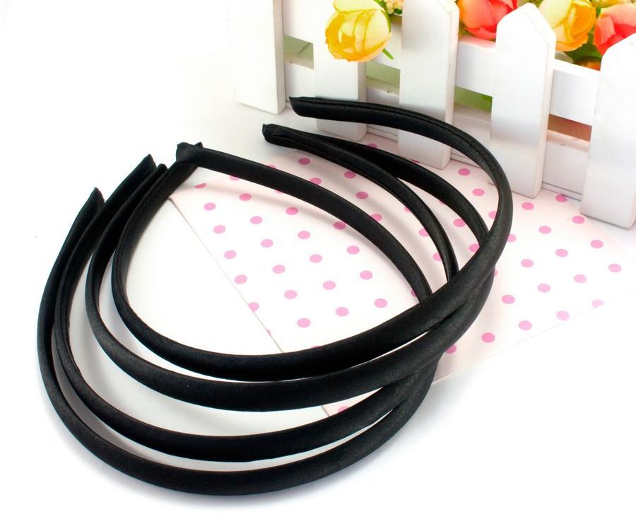 Обруч, ободок для волос обтянутый атласной тканью (9мм ширина) пластик Цвет - Черный