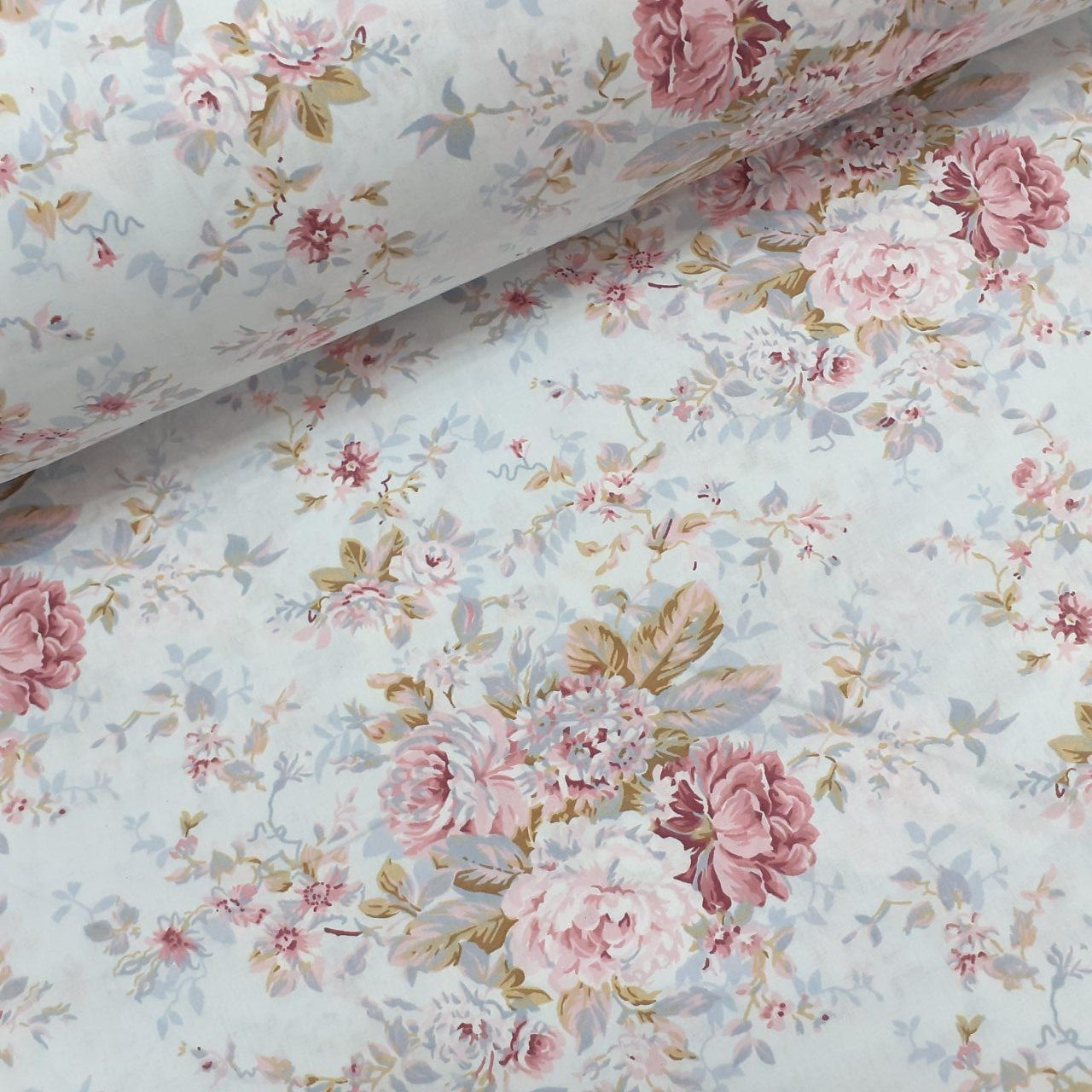 Хлопковая ткань (ТУРЦИЯ шир. 2,4 м) цветы в розовых тонах на белом