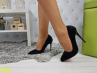 Туфли лодочки черные бархатные с красной подошвой