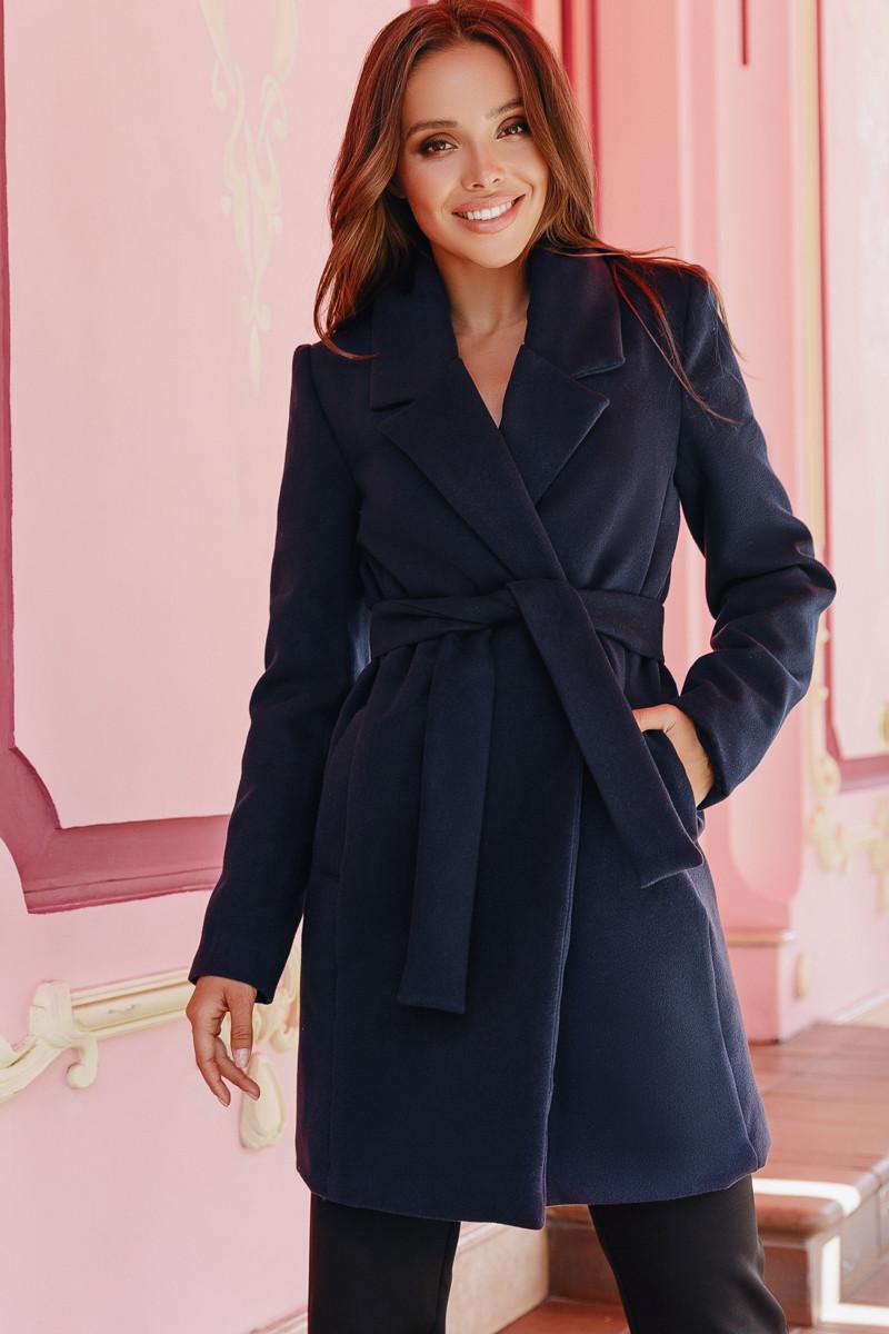 Женское двубортное пальто  Темно-синий