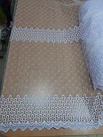 Фатіновий тюль з вишивкою білого кольору  висота 1.6м