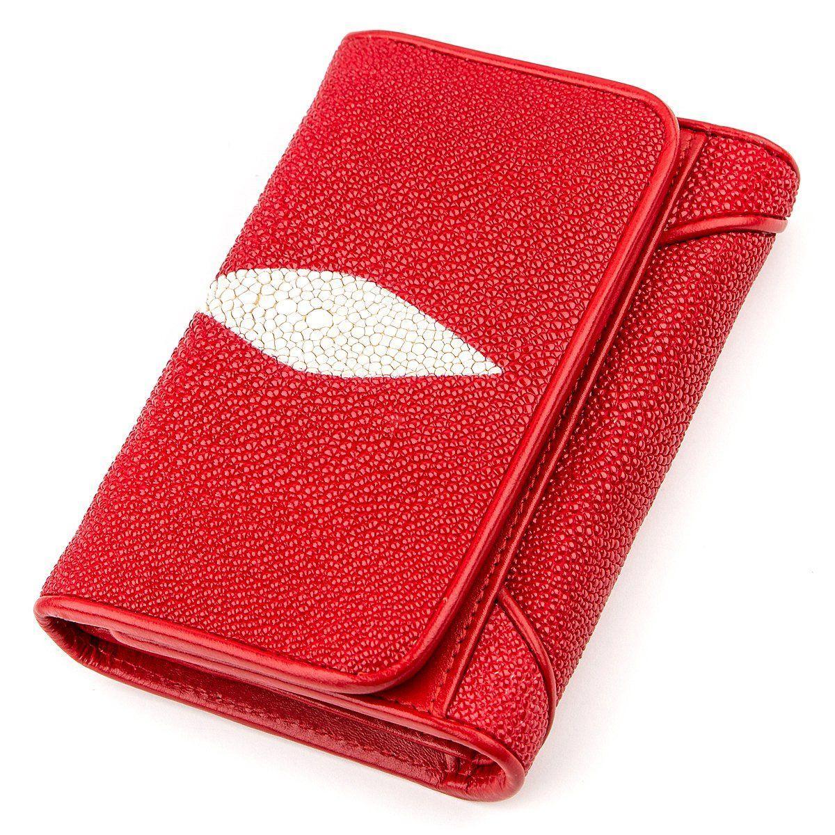 Кошелек Женский Stingray Leather 18287 Из Натуральной Кожи Морского СкатаКрасный, Красный
