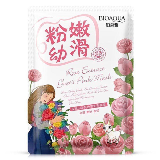 Маска для сухой кожи с экстрактом розы и козьим молоком BIOAQUA Rose Extract Goat
